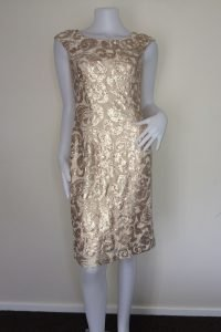 Beige & Bronze Sequin Dress