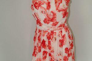 Orange Floral Chiffon Pleat Dress