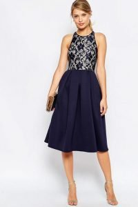 Lace Top Skater Midi Dress