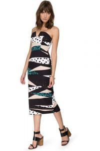 Multi Print Strapless Dress