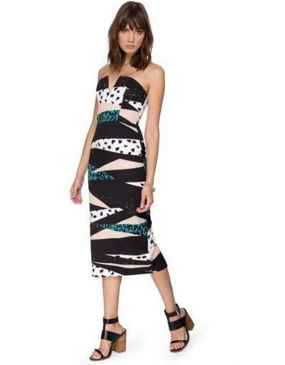 Multi Print Strapless Dress
