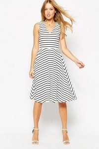 Stripe Midi Skater Dress
