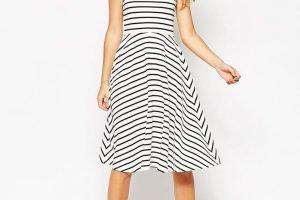 Stripe Midi Skater Dress