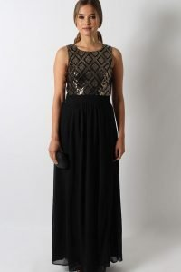 Black Gold Sequin Bodice Gown Size 8