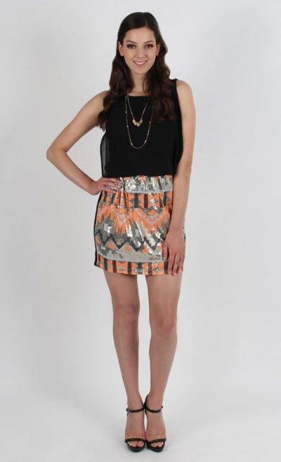 Chiffon Sequin Aztec Dress