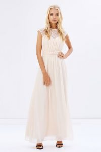 Blush Sheer Lace Maxi Gown