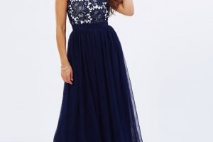 Navy lace bodice gown