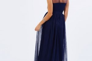 Navy lace bodice gown back