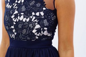 Navy lace bodice gown closeup