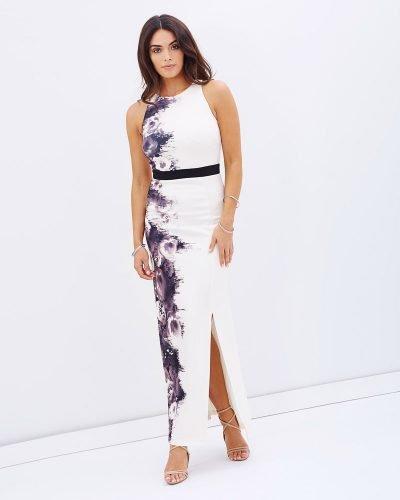 Cream One Sided Print Dress