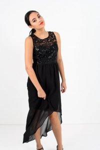 Sequin Bodice Hi Low Dress
